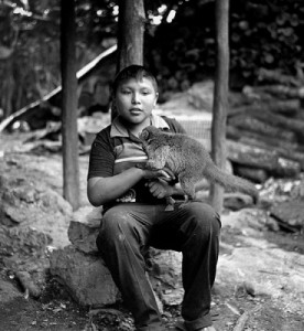 Eric Rose Photography - boy with pet in Coba Mexico